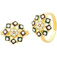 Voylla Pair Of Adjustable Geometric Flower Toe Rings