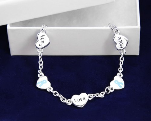 Light Blue Ribbon Bracelet-Hope, Faith, Love (18 Bracelets)