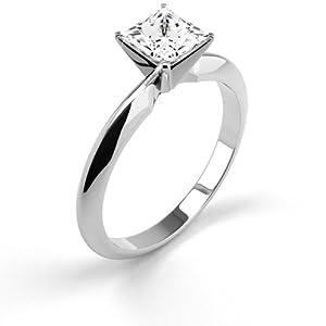 14K White Gold Diamond Engagement Ring Natural 0.52 Carat Weight Princess G SI2 IGL Certificate