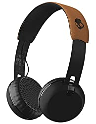 Skullcandy Grind Bluetooth Wireless On-Ear Headphones with Built-In Mic and Remote, Black/Tan