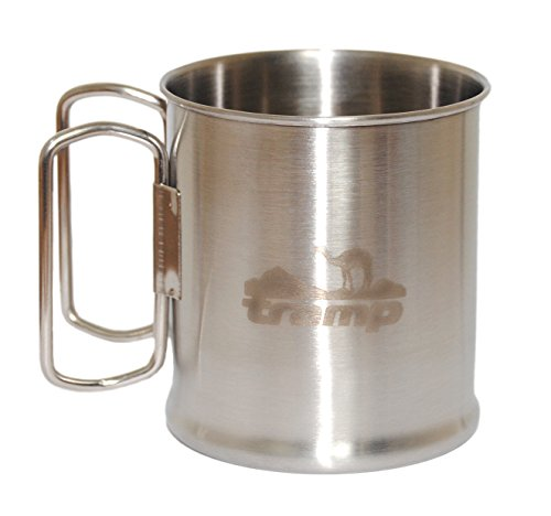Stainless Steel Travel mug from Europe with folding handles for Outdoors, Camping Cup, Space Saver Mug, Camping cooking cup 300 ml (10.15oz) .Comes with a box.LIMITED TIME OFFER, so BUY ONE NOW