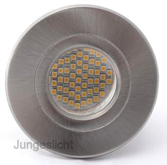 10er Set Bad Einbaustrahler Aqua IP54 Edelstahl Gebürstet + 230V GU10 3W  60er SMD LED Tageslichtweiß   Us136