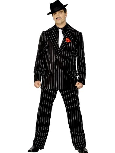 Black Pin Striped Gangster 20's Zoot Suit Costume Adult