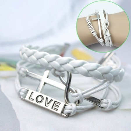 Caetle-TM-Fashion-Infinite-Bracelet-Cross-Bangle-White-Leather-Knit-Rope-Love-Punk-Charms