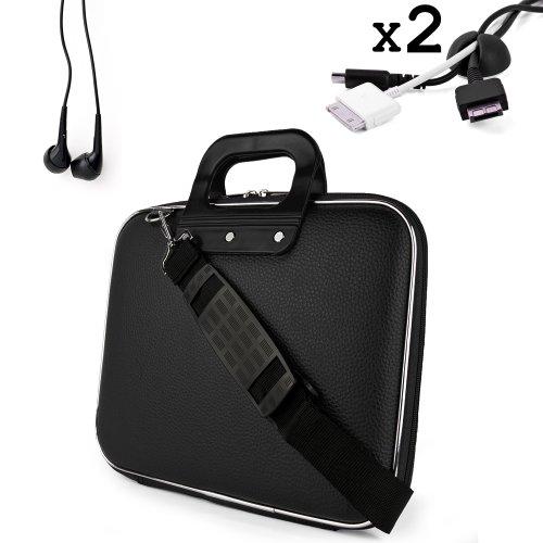 Sumaclife Cady Messenger Cube - Jet Black Ultra Durable Tactical Leather -Ette Bag Case Fits Apple Macbook 15 Inch Retina Display Laptop Comp.