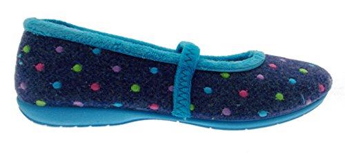 pantofola panno feltro blu azzurro pois laccetto 41 blu