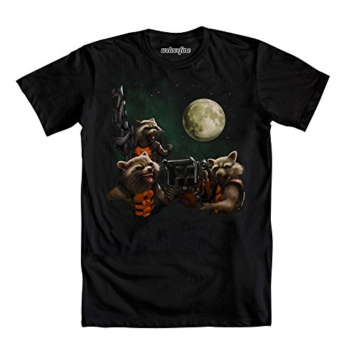 Guardians of The Galaxy Rocket Raccoon Moon Trio Mens Black T-Shirt