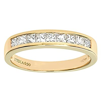 Ariel 9ct 0.50ct Princess Cut Diamond Channel Set Half Eternity Ring