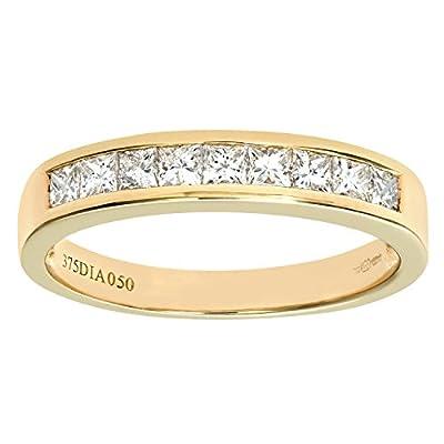 Ariel 9ct 0.50ct Princess Cut Diamond Channel Set Half Eternity Ring