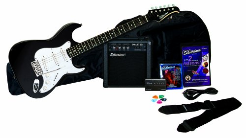 Silvertone Revolver Electric Guitar Pack, Black - SS11PK-BK