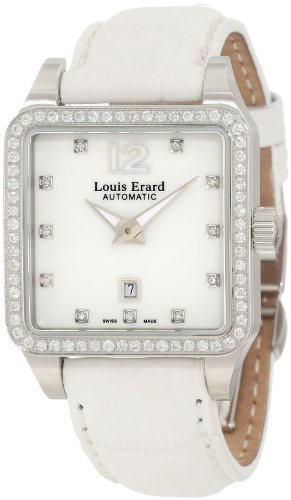 Louis Erard Women's 20700SE11.BAV10 Emotion Square Automatic White Alligater Leather Diamond Watch