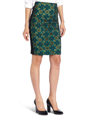 Catherine Malandrino Women's Embroidered Cut-Out Pencil Skirt, Aqua, 0 Image