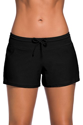 FIYOTE Women Sports Summer Bottom Slit Swim Beach Board Shorts (M, Black) Bottoms Casual Shorts