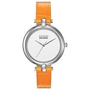 Citizen Women's EM0250-01A Silhouette Straps Analog Display Japanese Quartz Orange Watch