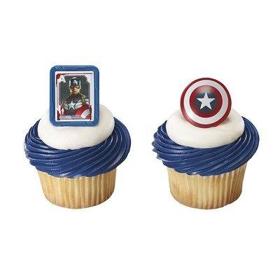 Captain America Shield Cupcake Rings - 24 pcs - 1