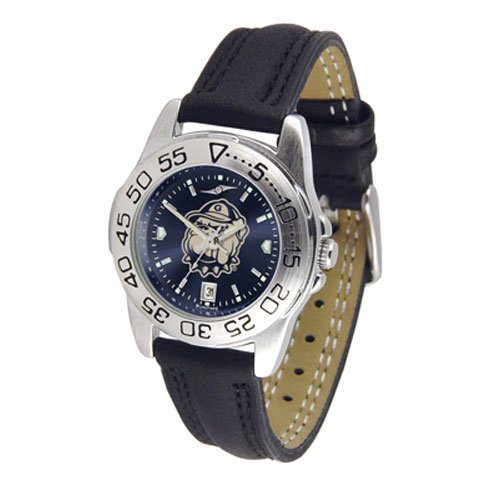 Suntime Georgetown Hoyas Ncaa Anochrome Sport Ladies Watch Leather Band