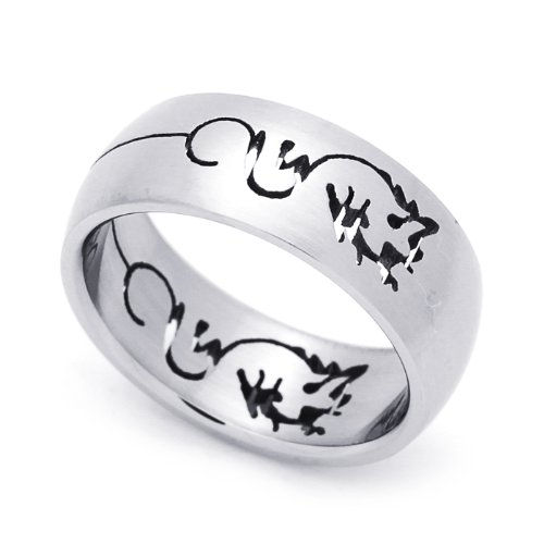 8MM Stainless Steel Cut-Out Dragon Domed Wedding Band Ring (Size 8 to 14) Size 10