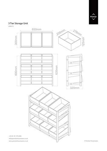 Premier Housewares 2400272 Meuble de Rangement à 3 Etages Structure Pin + 9 Bacs de Rangement Plastique