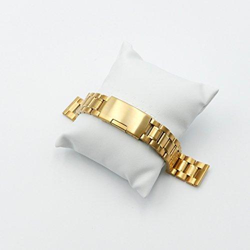3連 ステンレス サイドプッシュ式 腕時計 交換 ベルト 時計バンド ピン抜き棒 替えピン 付属 (直カン ゴールド 18mm)