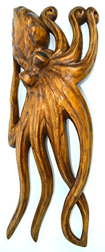 LARGE HAND CARVED SCULPTURE MAHOGANY WOOD OCTOPUS WALL ART, TROPICAL NAUTICAL DECOR