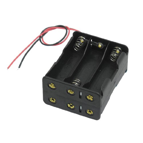 uxcell Black Tow Layers 6 x 1.5V AA Batteries Battery Holder Case Box w Wire Leads