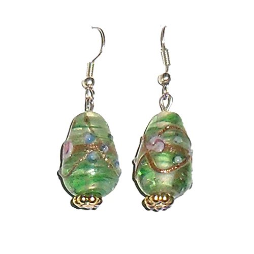 Beadworks Beadworks Glass & Silver Dangle & Drop Earring For Women -Green