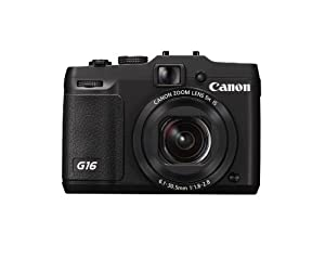 Canon PowerShot G16 Camera - Black (12.1MP, 28mm Lens, 5x Zoom Lens. 10x ZoomPlus) 3 inch LCD