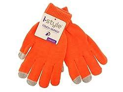 Ladies Neon Touchscreen Stretch Gloves - Grey/Orange
