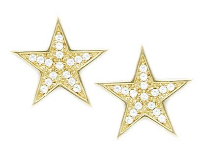 14ct Yellow Gold CZ Big Star Fancy Post Earrings - Measures 16x16mm