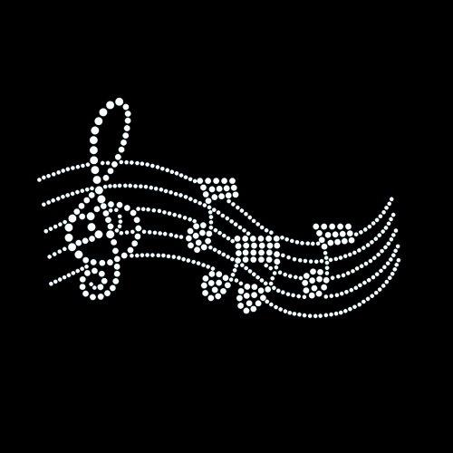 Music Melody Iron On Rhinestone Crystal T-shirt Transfer
