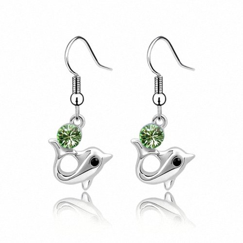 TAOTAOHAS- [ Search Name: Princess Dolphin ] (1PAIR) Crystallized Swarovski Elements Austria Crystal Earrings, Made of Alloy Plated with 18K True Platinum / White Gold and Czech Rhinestone
