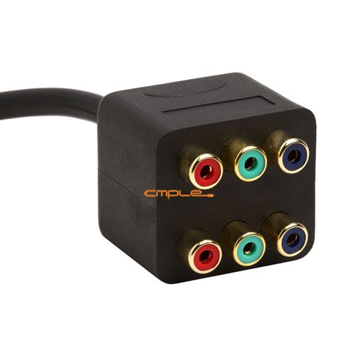 Cmple - 3-RCA Component Video 1 Male to 2 Female RGB Splitter