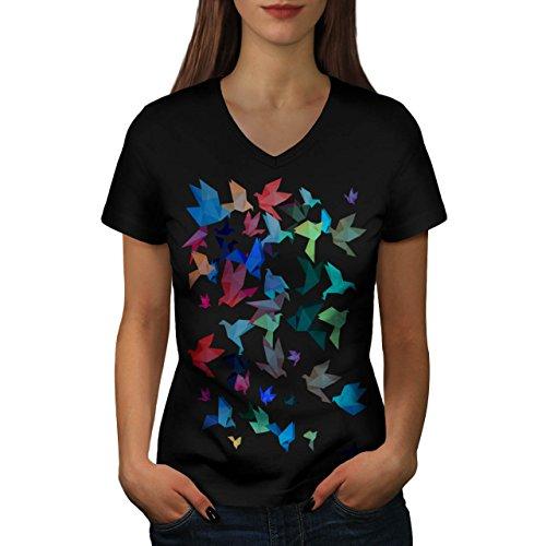 Origami Uccello Arte Giappone Da donna Nuovo Nero M T-Shirt | Wellcoda