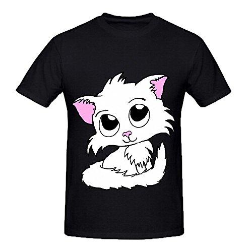 cute-kitty-white-cat-mens-crew-neck-graphic-tee-shirts-medium
