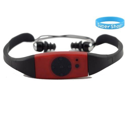 Supershop® 4GB Swimming Diving Water Waterproof MP3 Player FM Radio Earphone Red