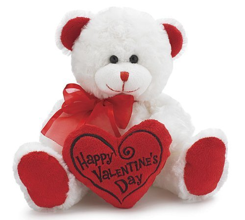 Happy-Valentines-Day-Bear-Animal-Plush-White-with-Red-Message-Pillow