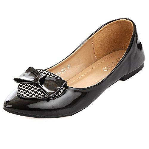 Fascino Women Houndstooth Bow Black PU Ballerinas