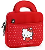 "Hello Kitty Themed Apple iPad Mini / 8"" Tablet Sleeve w/ Handles in Polka Dot Red (Neoprene, Water Resistant, Branded YKK Zippers, Soft Plush Inner Lining)"