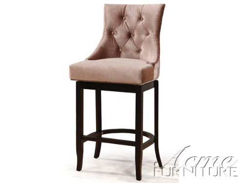 Swivel bar stool RHONA Mocha suede walnut finish Ac