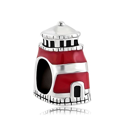 Good Luck Charm Antique Beacon Hope Charm Red Lighthouse Tower Sale Cheap Jewelry Bead Fits Pandora Charm Bracelet Gifts (Pandora Red Beads compare prices)