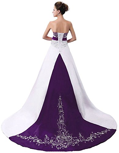 Faironly D229 Women's Wedding Dress Bridal Gown (X-Large, White Purple)