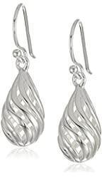 Sterling Silver Pear Wire Drop Earrings