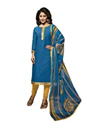 Desi Look Women's Blue Cotton Dress Material With Dupatta - B019BZXMI6