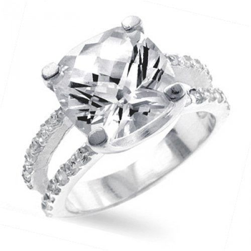 Bling Jewelry Antique Cushion Cut CZ Double Shank Engagement Ring