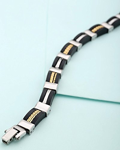 Voylla Black, Gold & Silver Plated Designer Bracelet For Men  available at amazon for Rs.649