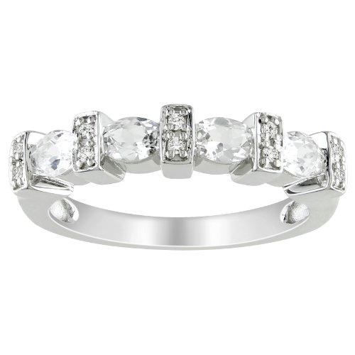 Sterling Silver 1 CT TGW Created White Sapphire 0.05 CT TDW Diamond Fashion Ring (G-H, I3)