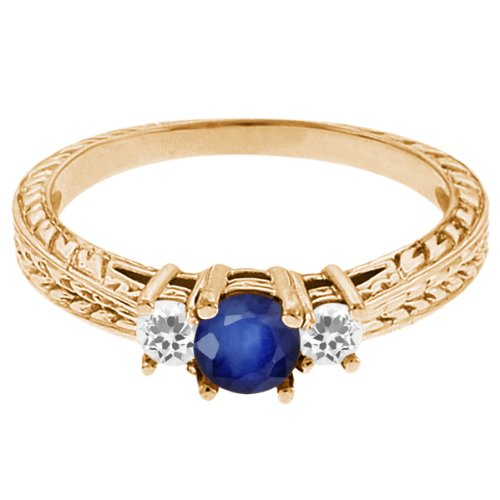 0.62 Ct Round Blue Sapphire White Sapphire 14K Yellow Gold 3-Stone Ring