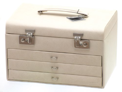 Davidt's Euclide Medium Size Jewellery Box with Three Drawers in Beige