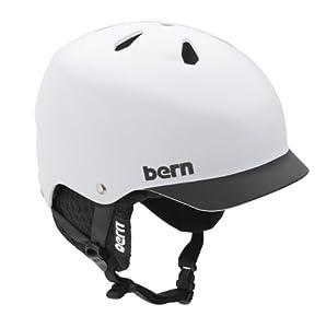 Bern Watts EPS Matte White/Black Brim Helmet with Black Knit (Medium/Large)