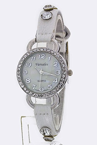 Chic Chelsea Crystal Studed Leather Fashion Watch (White)